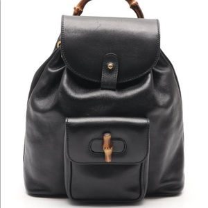 Gucci Black Leather Bamboo Backpack Small